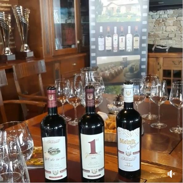 """Щастлива група посетители на винарска изба """"Кьосев"""" пред бъчви"""